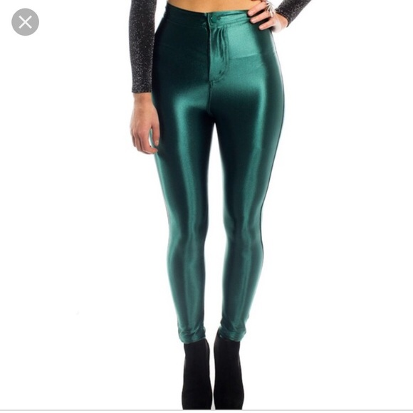 4a70e77bd746a American Apparel Pants - Green shiny disco pants from American apparel